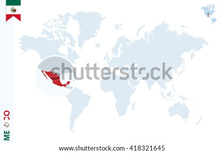 World Map Magnifying On Mexico Blue Stock Vector Royalty Free