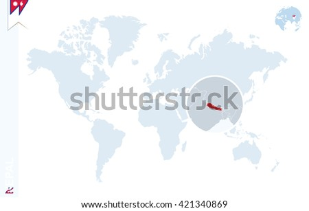 Nepal In The World Map.World Map Magnifying On Nepal Blue Stock Vector Royalty Free