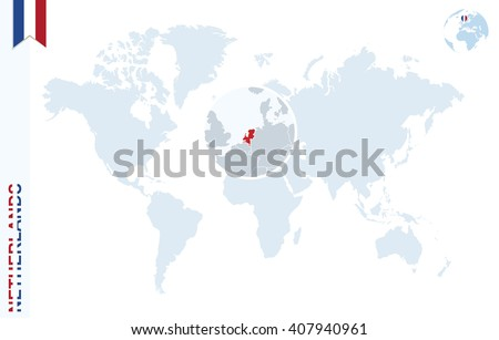 World Map Magnifying On Netherlands Blue Stock Vector (Royalty Free ...