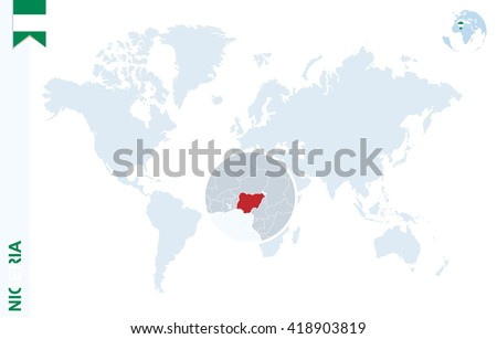 World Map Magnifying On Nigeria Blue Stock Vector Royalty Free