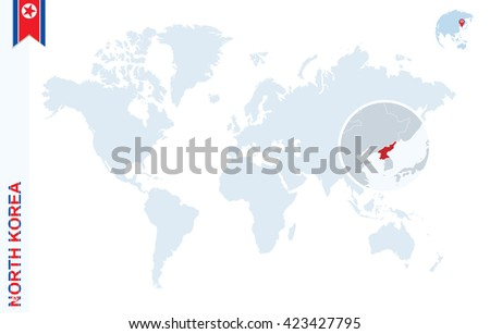 World Map Magnifying On North Korea Stock Vector (Royalty Free ...
