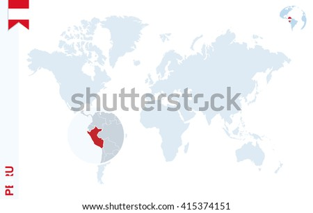 World Map Magnifying On Peru Blue Stock Vector (Royalty Free ...