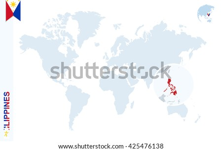 World Map Magnifying On Philippines Blue Stock Vector (Royalty Free ...