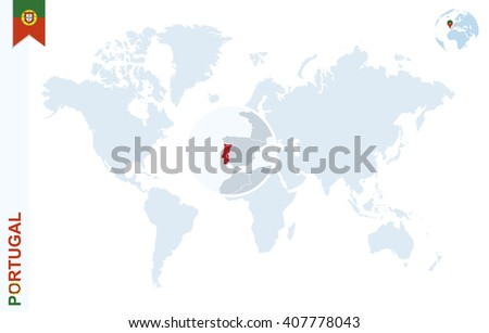 World Map Magnifying On Portugal Blue Stock Vector (Royalty Free ...