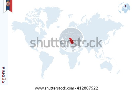 World Map Magnifying On Serbia Blue Stock Vector Royalty Free