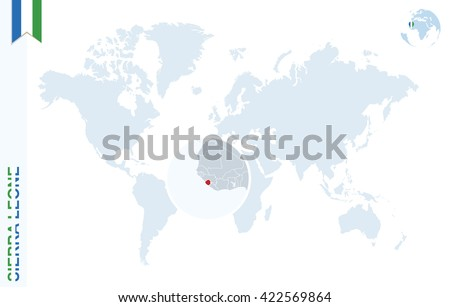 World Map Magnifying On Sierra Leone Stock Vector Royalty Free