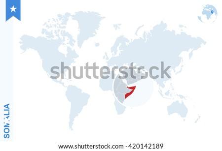 World Map Somolia.World Map Magnifying On Somalia Blue Stock Vector Royalty Free