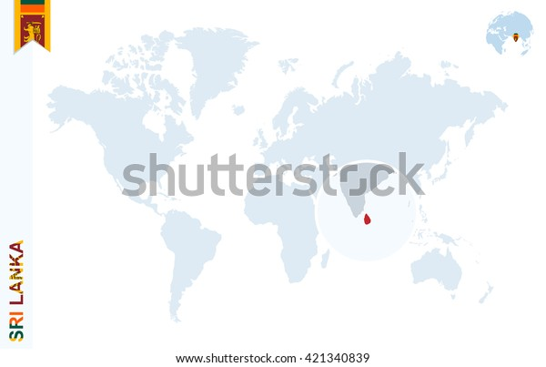 World Map Magnifying On Sri Lanka Stock Vector Royalty Free 421340839