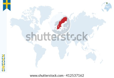 World Map Magnifying On Sweden Blue Stock Vector (Royalty Free ...