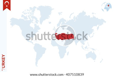 Turkey Map Of World.World Map Magnifying On Turkey Blue Stock Vector Royalty Free