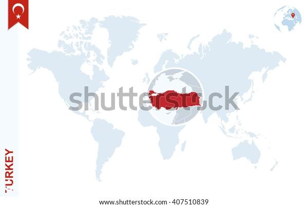 Stock Vektor Mapa Sveta S Zvetsenim Na Turecko Bez Autorskych
