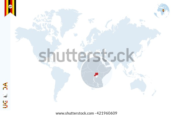 World Map Magnifying On Uganda Blue Stock Vector (Royalty ...