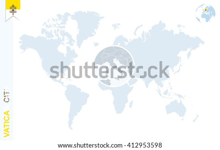 Vatican City On World Map.World Map Magnifying On Vatican City Stock Vector Royalty Free