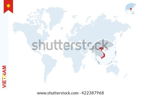 World Map Magnifying On Vietnam Blue Stock Vector (Royalty Free ...