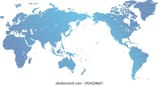 World map material written in dots