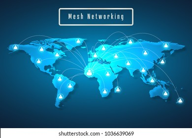 World map mesh network connection as global business, technology and composition concept. Vector Illustration.