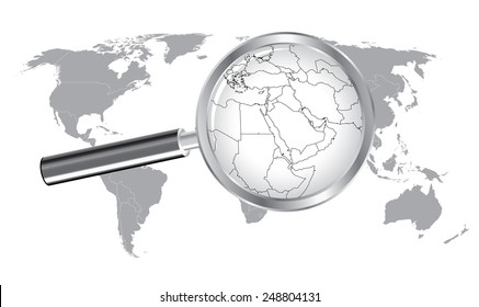 Middle east map vector imgenes fotos y vectores de stock world map middle east wired continent with magnifier glass gumiabroncs Image collections