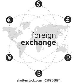 World map, money and bitcoin icon. Abstract sign currency exchange flat design. Illustration. Editable eps10 Vector. Transparent background.