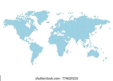 World map mosaic of blue rain drops. Vector illustration.