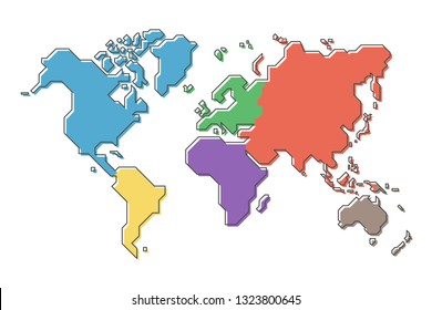 World map with multicolor continent and modern simple cartoon line design .