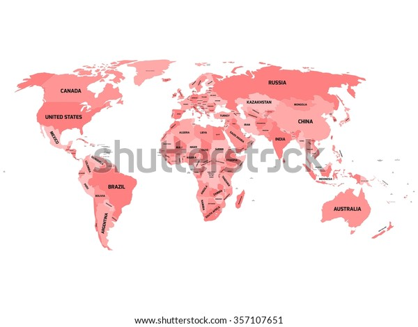 World Map Names Sovereign Countries Larger Stock Vector ...