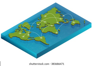 World map with nodes linked by lines.  World map 3D for infographics elements. Design information, business graph and chart. Vector illustration.