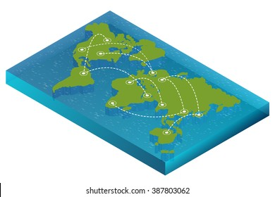 World map with nodes linked by lines.  For infographics elements. Design information, business graph and chart. Vector illustration.