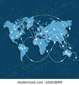 World map with nodes linked by lines. International Logistics or business concept. Vector illustration