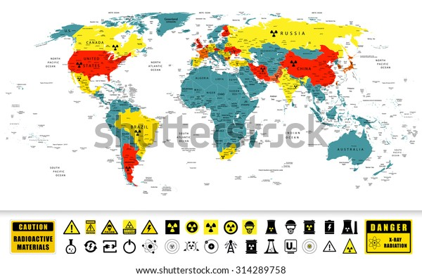 World Map Nuclear Power Countries Location Stock ...