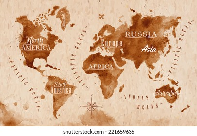 World map in old style, brown graphics in a retro style