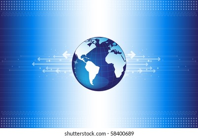 World map on the abstract background