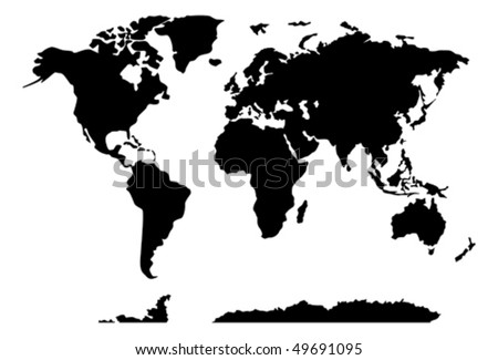 world map on black and white showing all countries and continents of the globe