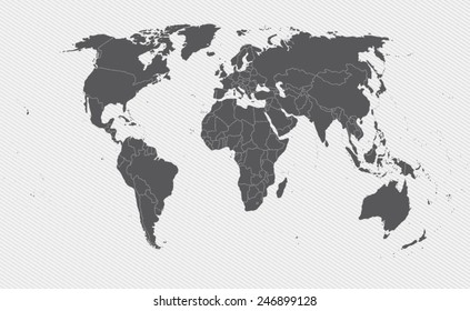 world map on gray background. Vector illustration