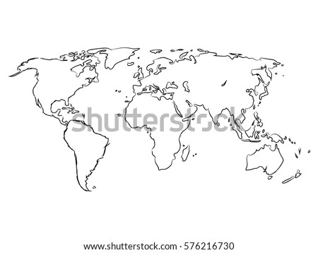 World Map On Hand Draw Stock Vector Royalty Free 576216730