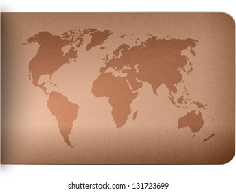 World map on leather texture background. Vector illustration