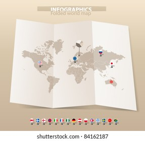 World map on old map and flags of different countries
