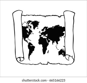 World map on old papyrus paper. Vector illustration. Sketch scroll isolated on white background. Horizontal location.