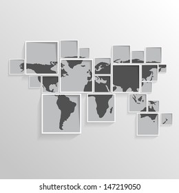 World map on squares / black and white vector illustration EPS10