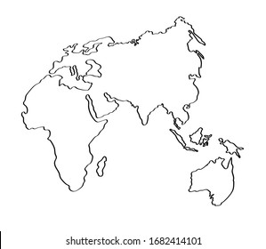 World map on a white background. Linear silhouette. Vector illustration.