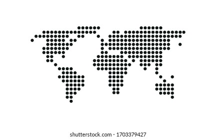 World map  on white background. Circul dots, small detail. Vector illustration