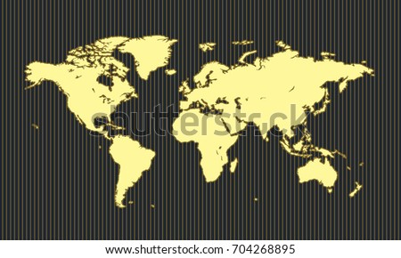 World Map On Yellow Line Black Stock Vector (Royalty Free