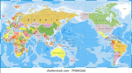 Political physical topographic colored world map vectores en stock world map outline contour silhouette asia in center vector gumiabroncs Image collections