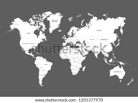 world map outline contour silhouette names stock vector royalty