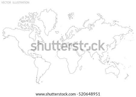 world map outline gray world map stock vector royalty free