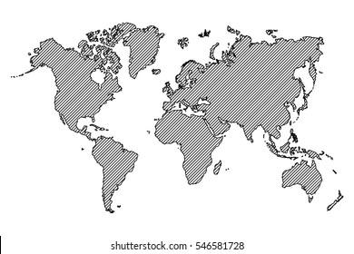 World map . outline and oblique line .