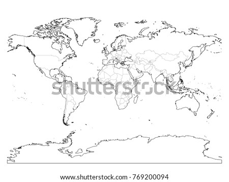 World Map Blank With Borders.World Map Outline Thin Country Borders Stock Vector Royalty Free