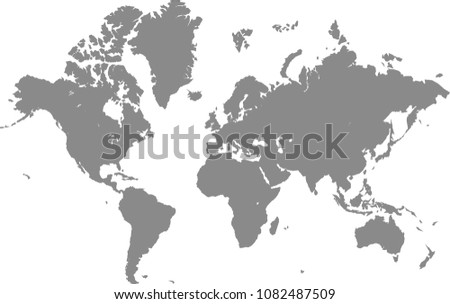 World Map Outline Vector Illustration Gray Stock Vector Royalty