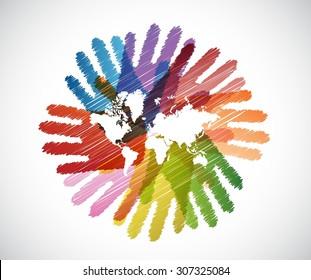 world map over diversity hands circle illustration design