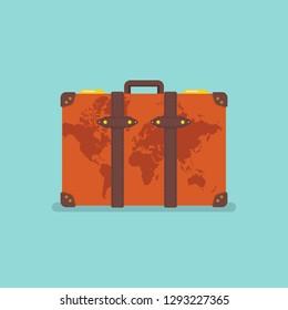 World map over vintage suitcase. Travel concept Vector illustration