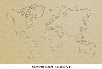 world map, paper art illustrator vector